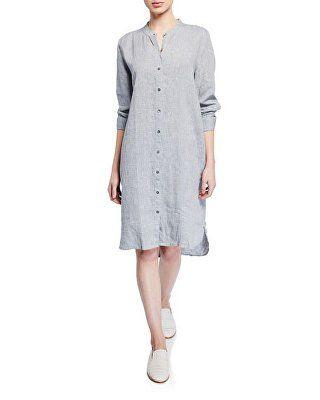 Eileen Fisher Designer Plus Size Yarndye Organic Linen Hanky Shirtdress Shirt Dress Style Shirt Dress Eileen Fisher Dress