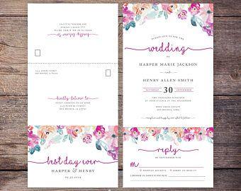 Painted Botanicals Wedding Invitation /& Correspondence Set  Deep Vintage Florals and Watercolor textures  Sample Set