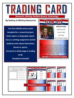 Olympic Trading Card - Writing from Whimsy Resources on - sample trading card