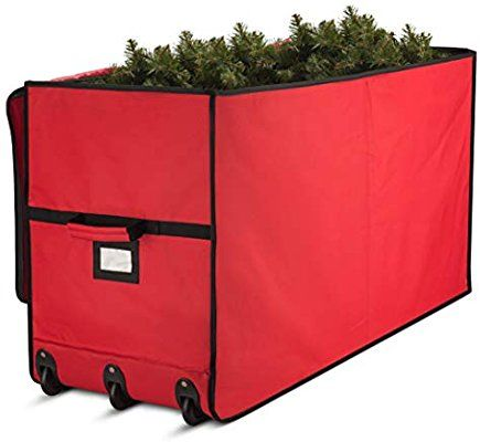 Amazon Com Super Rigid Rolling Christmas Tree Storage Box Canvas Fabric With Cardboard In Christmas Tree Storage Tree Storage Bag Christmas Tree Storage Box