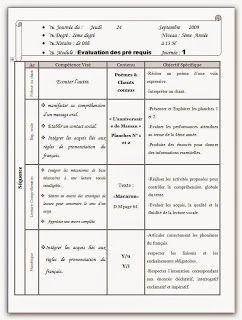 Evaluation Des Prerequis 5eme Annee موارد المعلم Journal Education Evaluation