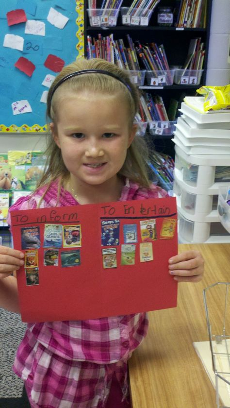 Use old Scholastic book order forms to sort books: Fiction/Nonfiction or To Entertain/To Inform, etc.... What a brilliant idea!