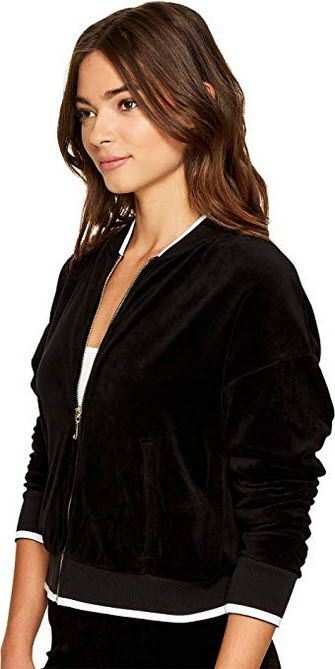 Juicy Couture Womens Velour Ruched Sleeve Jacket Pitch Black Jackets Juicy Couture Velour Jackets