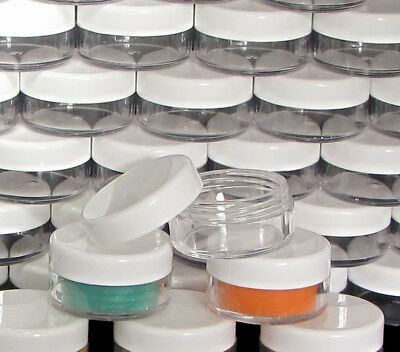 200 Makeup Jars Wholesale Plastic Cosmetic Containers 10 Gram White Lids 5066 721767247063 Ebay In 2020 Makeup Jars Cosmetic Containers Wholesale Jars