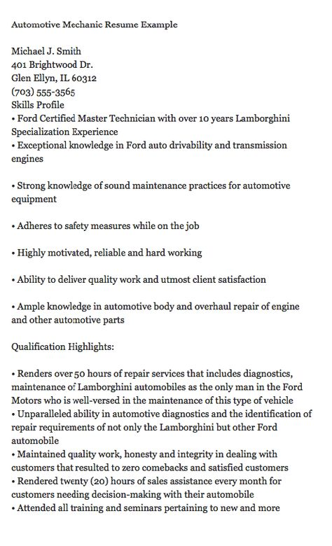 automotive mechanic resume example michael j smith 401 brightwood land surveyor resume sample - Land Surveyor Resume