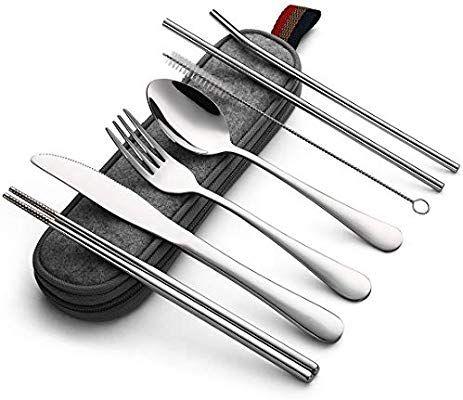 Portable Stainless Steel Cutlery Set Traveling Spoon Fork Chopsticks Tableware