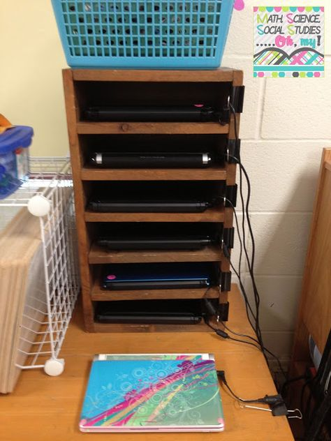 Classroom Organization: Classroom Computers. Number the computers, use clips to keep cords tangle free.