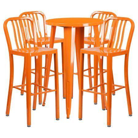 Flash Furniture 24 Inch Round Metal Indoor Outdoor Bar Table Set With 4 Vertical Slat Back Barstools Multiple Outdoor Bar Table Metal Pub Table Bar Table Sets