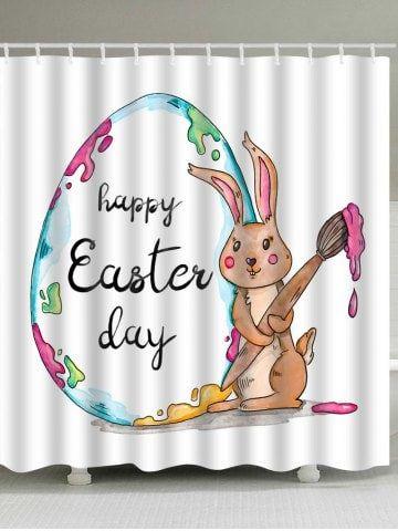 Happy Easter Rabbit Egg Print Shower Curtain Shower Curtain