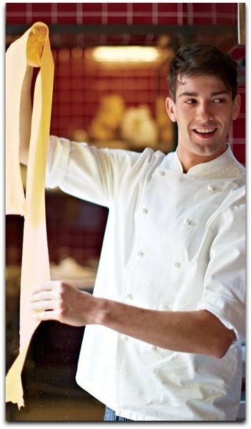 Preparing pasta in a Tuscan restaurant.