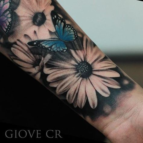 Image Result For Black And White Daisy Butterfly Tattoos Sleevetattoos White Flower Tattoos Half Sleeve Tattoo Butterfly Tattoo