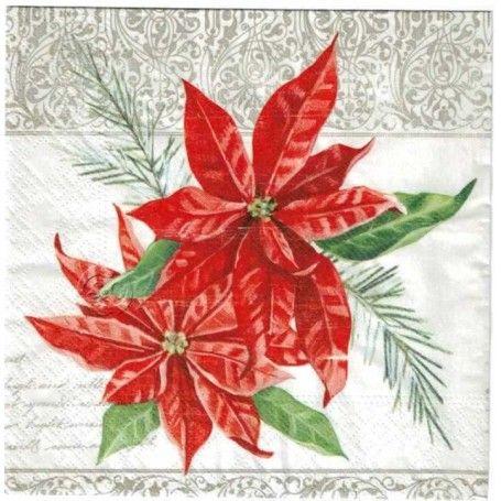 Servilleta Decorada Navidad Flor De Pascua Flor De Pascua Imagenes Para Primera Comunion Navidad