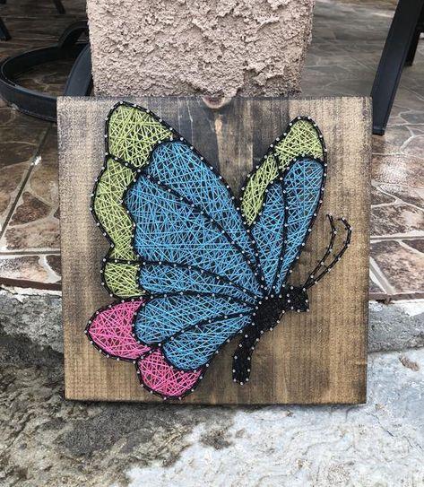 Butterfly String Art, Butterfly Art, Bedroom Decor, Nursery Wood Decor