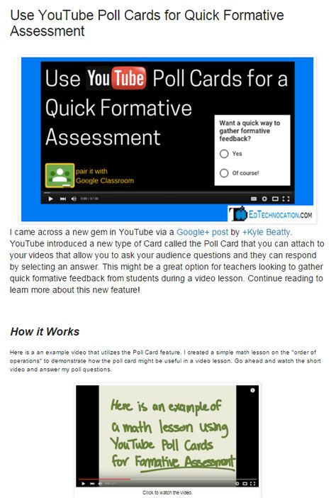Use YouTube Poll Cards for Quick Formative Assessment - Love this