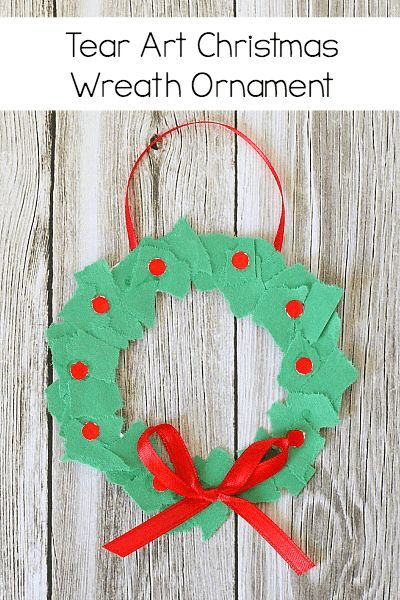 Homemade Christmas Ornaments Tear Art Christmas Wreaths Buggy And Buddy Christmas Arts And Crafts Christmas Ornaments Homemade Preschool Christmas