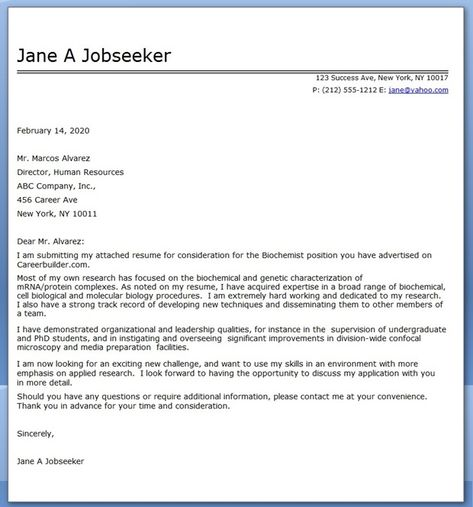 Biochemistry Cover Letter Example Creative Resume Design - security cover letter examples