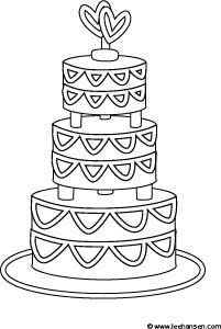Fancy wedding cake coloring page