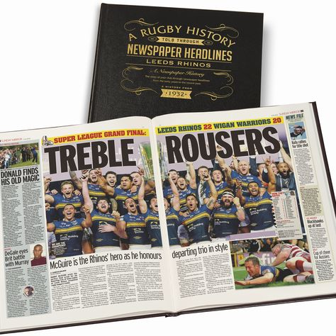 Leather Cover A3 Rugby League Newspaper Book - Rugby Newspaper Wigan Warriors Book Leather Black Cover