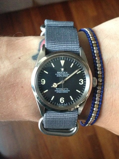 Rolex Explorer ref. 1016 retailed by Tiffany and Co. on NATO strap