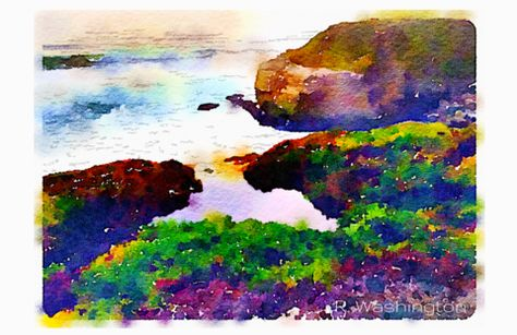 West Cliff Cove Digital Watercolor - Canvas Wall Art ( 16 x 20 ) – Rodney Washington | Art Photography - $104 - http://rodneywashingtonartphotography.com/
