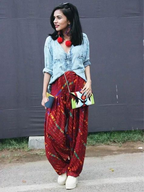 create the fusion like fashion pro by pairing salwar with denim top