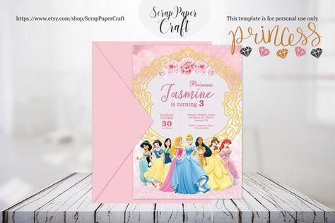 luxury princess birthday invitation disney party template disney