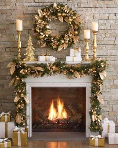 Decoracion De Navidad Chimeneas Decoracion Dorada De Navidad Para Chimeneas Decorar Chimeneas Navidad Decoracion De Chimeneas Navidenas Decoracion Navidad