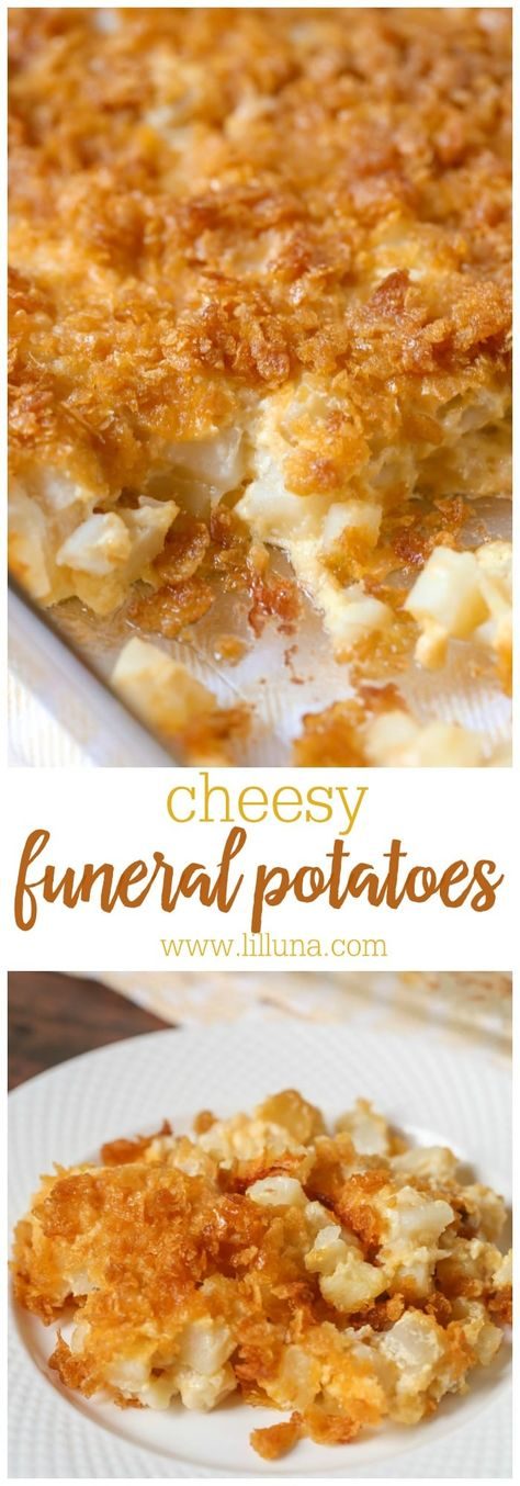 Cheesy and delicious Funeral potatoes (aka Cheesy potatoes, Party Potatoes). This simple casserole is a potato lovers dream. With cheesy, sour cream, butter, cream of chicken and born, these potatoes are perfect for any meal or holiday. #funeralpotatoes #cheesypotatoes #potatoes #simplecasserole #thanksgiving