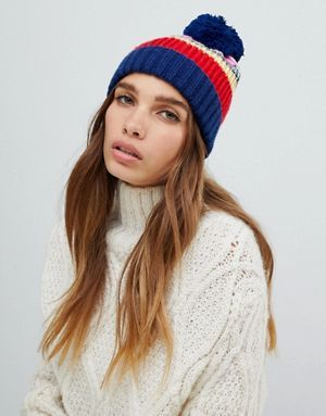 ASOS DESIGN knitted stipe beanie with pom   BEANIES f1f7dad2d4e