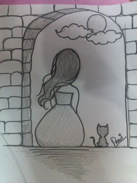 Cat and a girl sitting in the balcony watching the beautiful moon #balcony #Beautiful #Cat #easydrawings #girl #moon #sitting #watching