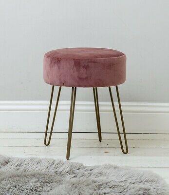 Rose Pink Upholstered Velvet Footstool Rose Gold Hairpin Style Legs Ebay Velvet Footstool Footstool Gold Hair Pin
