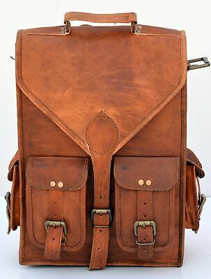 Bag Backpack Leather Vintage Men Rucksack Laptop Travel School Satchel Genuine