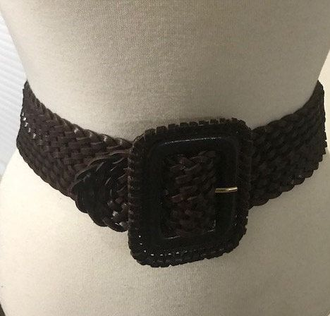 Kenneth Cole NY Brown Leather Belt, Genuine Braided leather