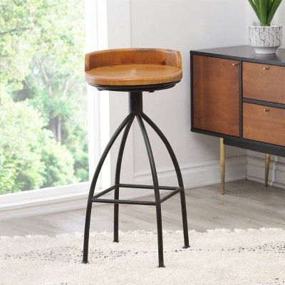 Odom Industrial Iron Bar Stool Natural Abbyson Living White Swivel Bar Stools Industrial Bar Stools Bar Stools For Sale