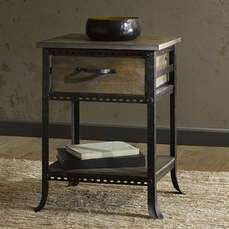 This reclaimed gray accent end table with drawer has just the right amount of rustic appeal for any rooms décor. Some assembly required.