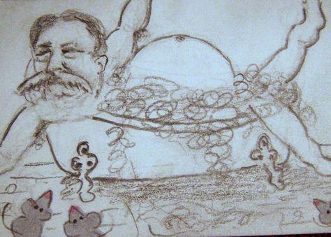 Aceo Atc Stuck President William Howard Taft Bathtub Cartoon
