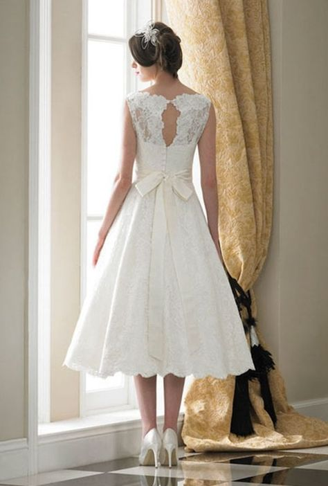 Classic Lace//Organza Tea Length Wedding Dress Bridal Gown Party Prom Dress 6-18