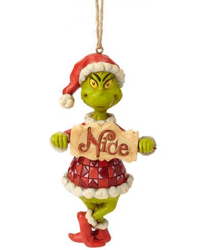 Enesco Jim Shore Grinch With Naughty Nice Sign Ornament Reviews Holiday Shop Home Macy S In 2020 Christmas Ornaments Hanging Ornaments Grinch Ornaments