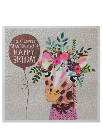 Giraffe Granddaughter Happy Birthday Card Happy Birthday Cards Daughter Birthday Cards Birthday Cards