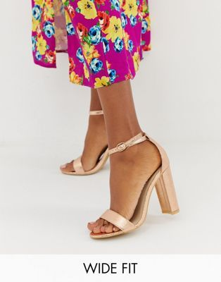 Glamorous Wide Fit Rose Gold Barely There Sandals Black Block Heel Sandals Rose Gold Strappy Heels Gold Block Heel Shoes