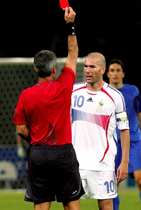 Zinedine Zidane is dismissed for violent conduct after butting Marco Materazzi in the 2006 World Cup final.