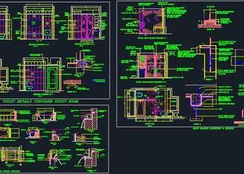 House Architectural Space Planning Floor Layout Plan 20 X50 Free Dwg Download Hotel Guest Working Drawing Guest Bathroom