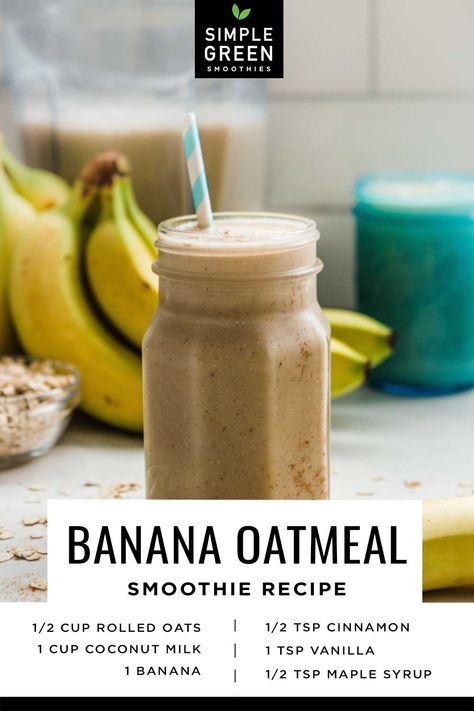 Banana Oatmeal Smoothie, Coconut Milk Smoothie, Smoothie Prep, Clean Eating Smoothie, Banana Smoothie Recipes, Banana Milk, Smoothie Cleanse, Cleanse Detox, Juice Cleanse