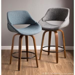 Magnificent Lumisource Fabrico 26 In Walnut And Blue Swivel Counter Pabps2019 Chair Design Images Pabps2019Com