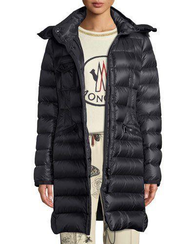 Women Duck Down Hooded Long Jacket Fur Collar Coat Slim Winter Puffer Parka R598