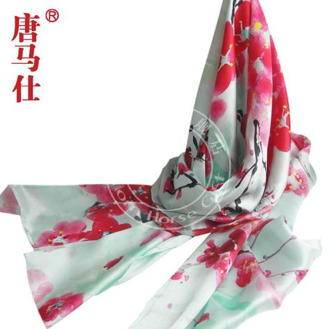 Ink painting style long silk scarf (70X19in) - Chinese Silk Handicraft gift #Tomhorse #Scarf