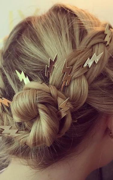 Lightning bolt hair clips