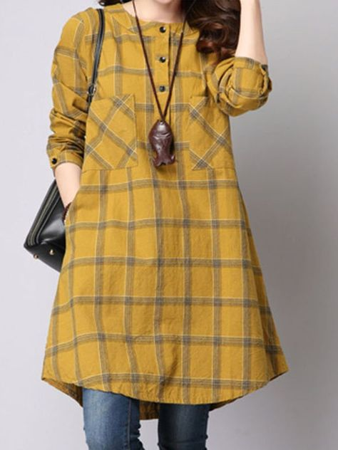 Round Neck Plaid Patch Pocket Shift Dress