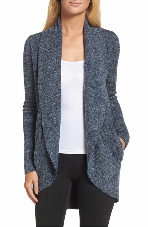 Main Image - Barefoot Dreams® CozyChic Lite® Circle Cardigan heather grey, size small
