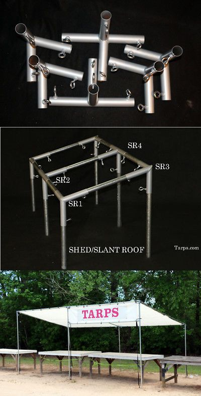 Awnings And Canopies 180992 6 Canopy Fittings For Shed Roof Canopy Using 1 3 8 Chain Link Top Rail Tubing Buy It Now Only 52 On Ebay Shed Roof Shed Roof